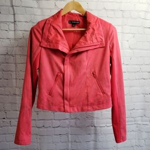 Rock & Republic Red Cropped Moto Suede Jacket y2k
